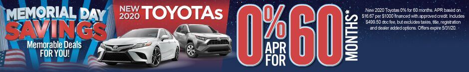 New 2020 Toyotas - Get 0% for 60 months