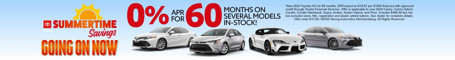 Summertime Savings Going on Now | 0% APR for 60 months on several models in-stock