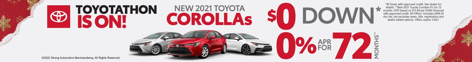 New 2021 Toyota Corollas - $0 down, 0% APR for 72 months