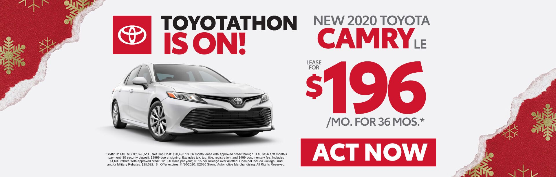 New 2020 Toyota Camry - Lease for $196 a month - Act Now