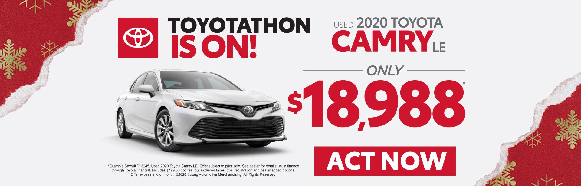 Used 2020 Toyota Camry - Only $18,988