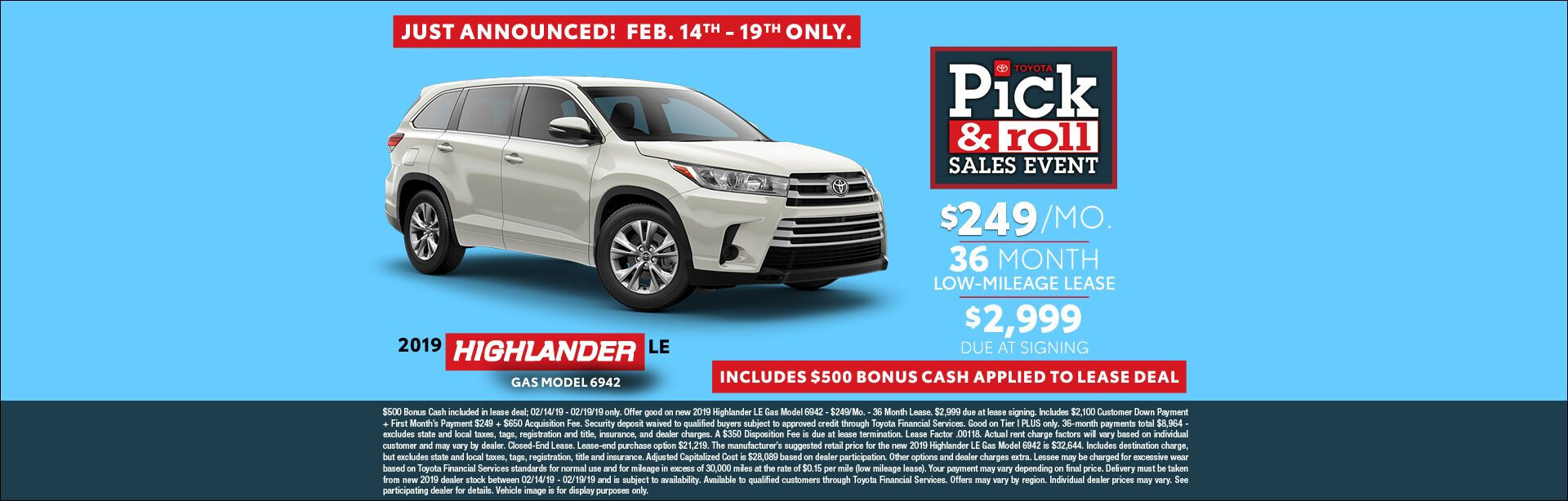 Presidents Day Highlander Lease Feb 2019