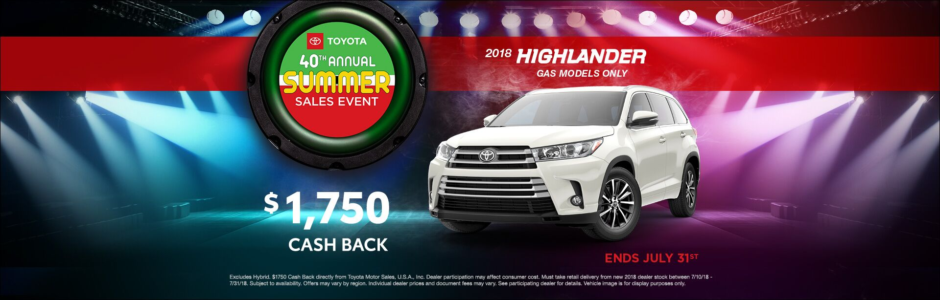 Toyota Summer Sales Event Highlander Cash Back