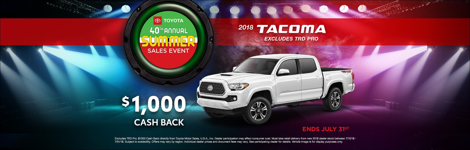 Toyota Summer Sales Event Tacoma Cash Back