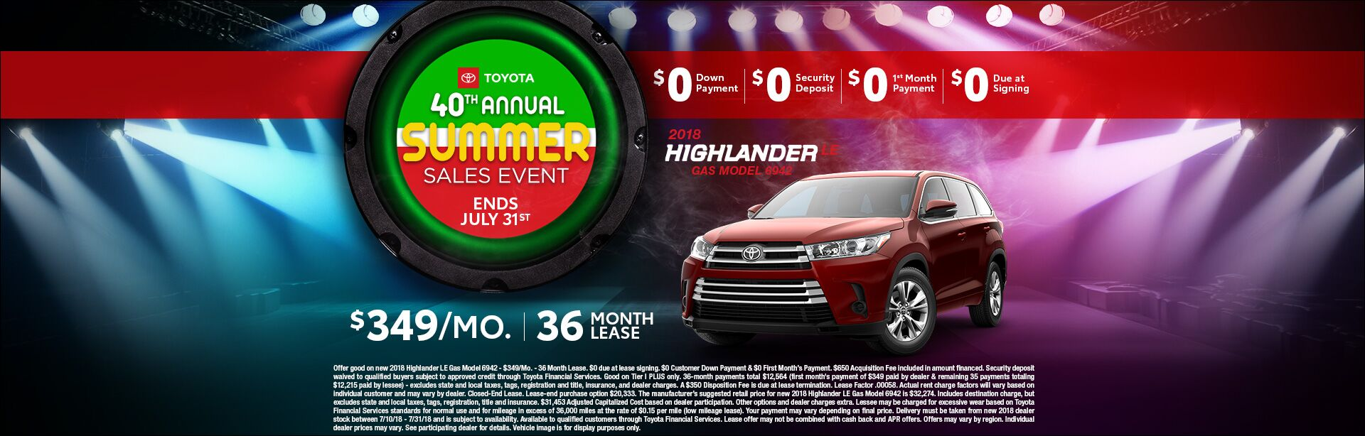 Toyota Summer Sales Event Highlander Lease