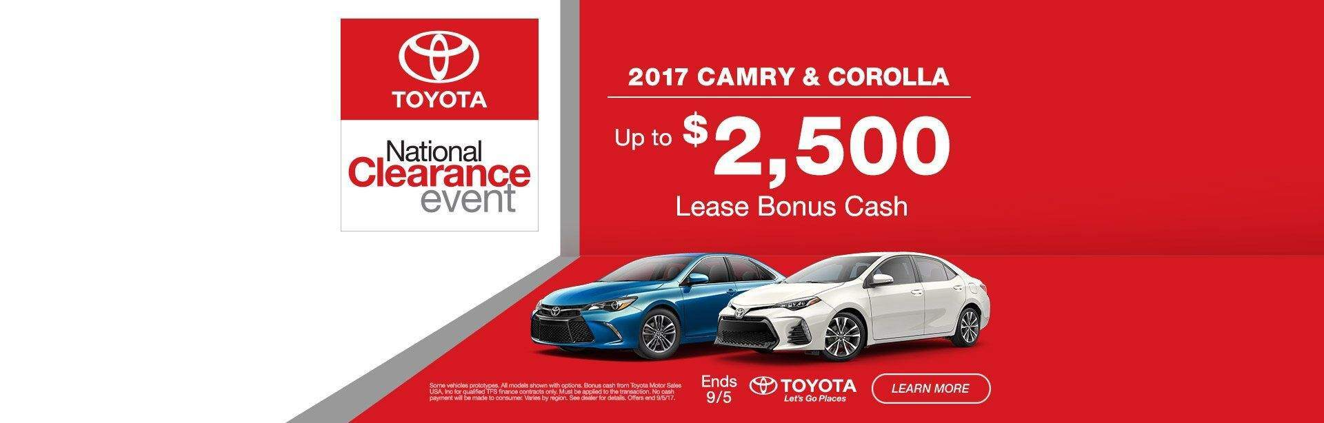 Camry/Corolla Clearance