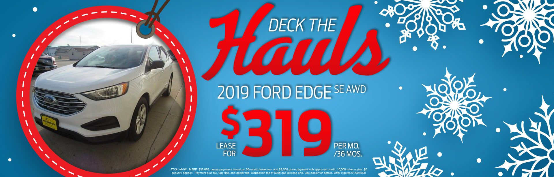 2019 Ford Edge SE AWD Lease for $319 Per Month For 36 Months