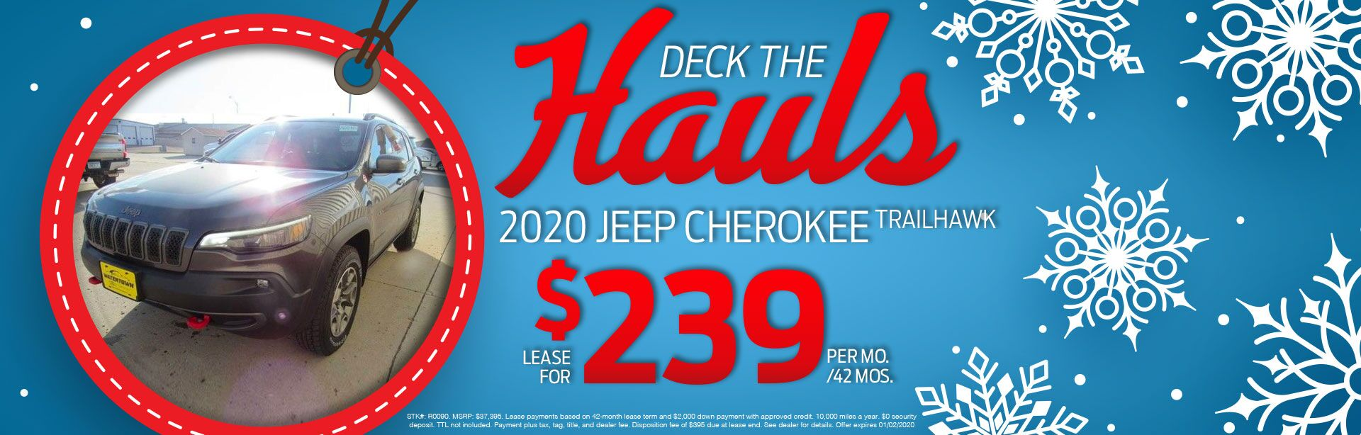 2020 Jeep Cherokee Trailhawk Lease for $239 Per Month For 42 Months