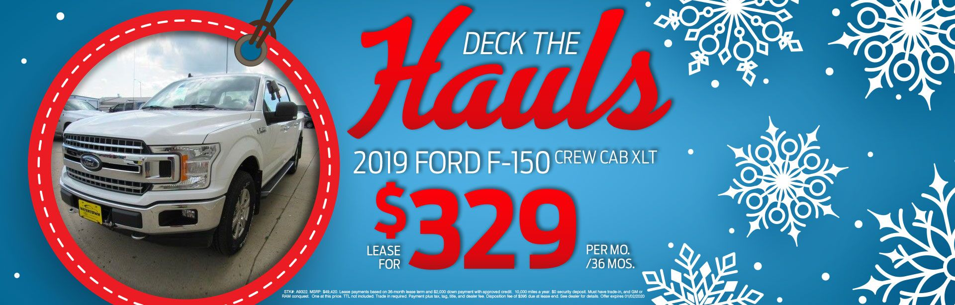 2019 Ford F-150 Crew Cab XLT Lease for $329 Per Month For 36 Months