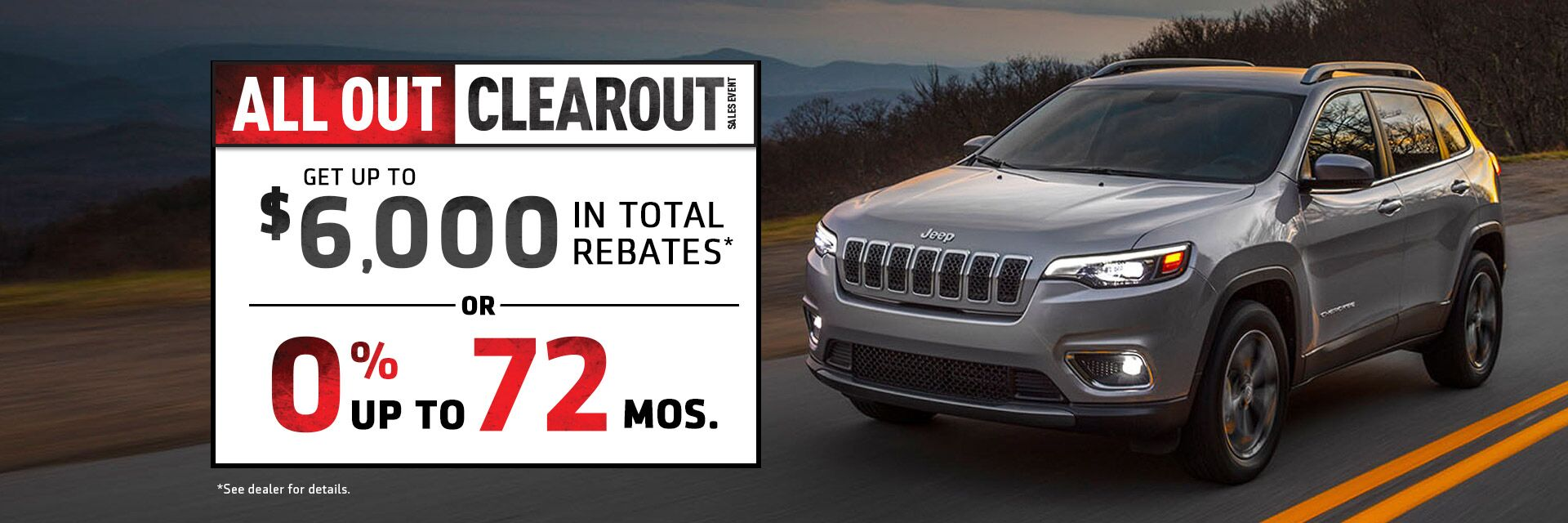 All Out Clearout Sales Event at Stony Plain Chrysler Jeep Cherokee