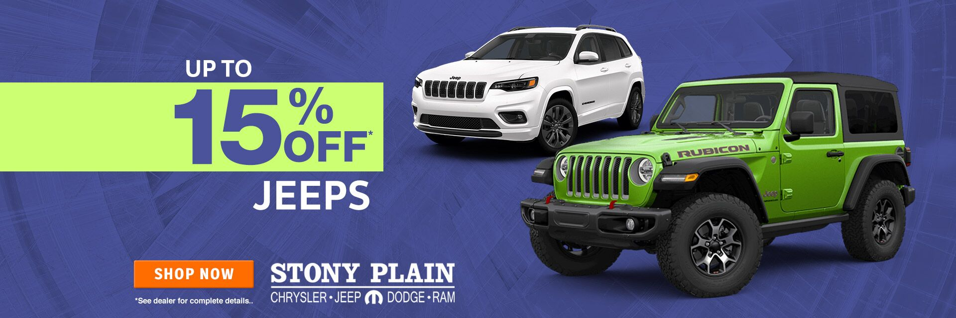 15% off Jeep
