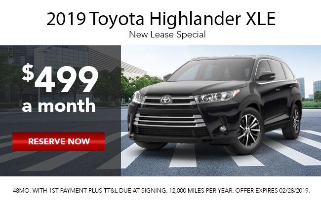2019 Toyota Highlander Lease Offer
