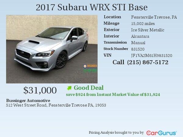 2017 Subaru WRX STI - All Wheel Drive