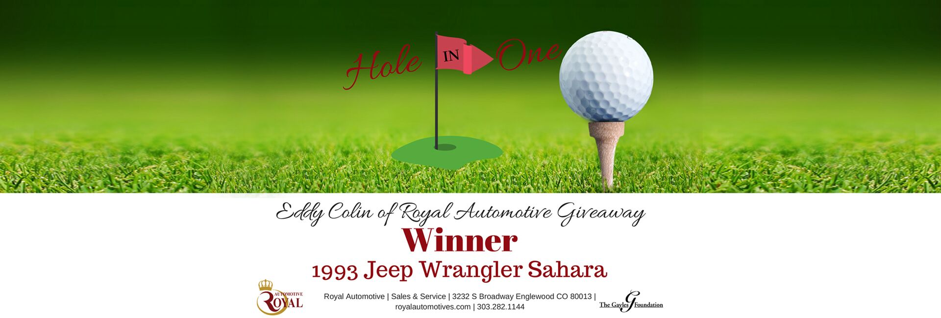 Royal Automotive Jeep Wrangler Giveaway at Charity Golf Tournament