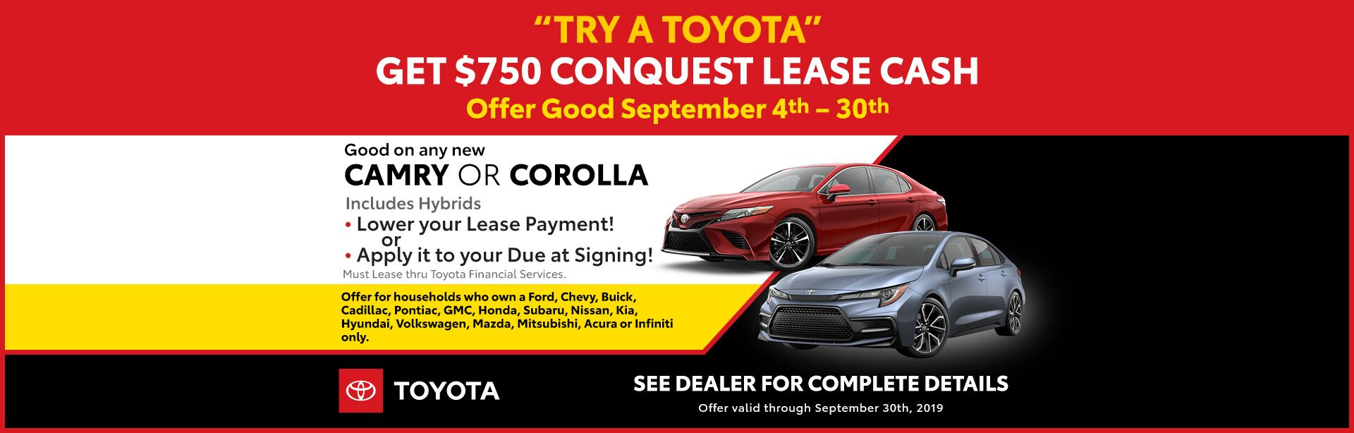 Conquest Lease - Camry and Corolla