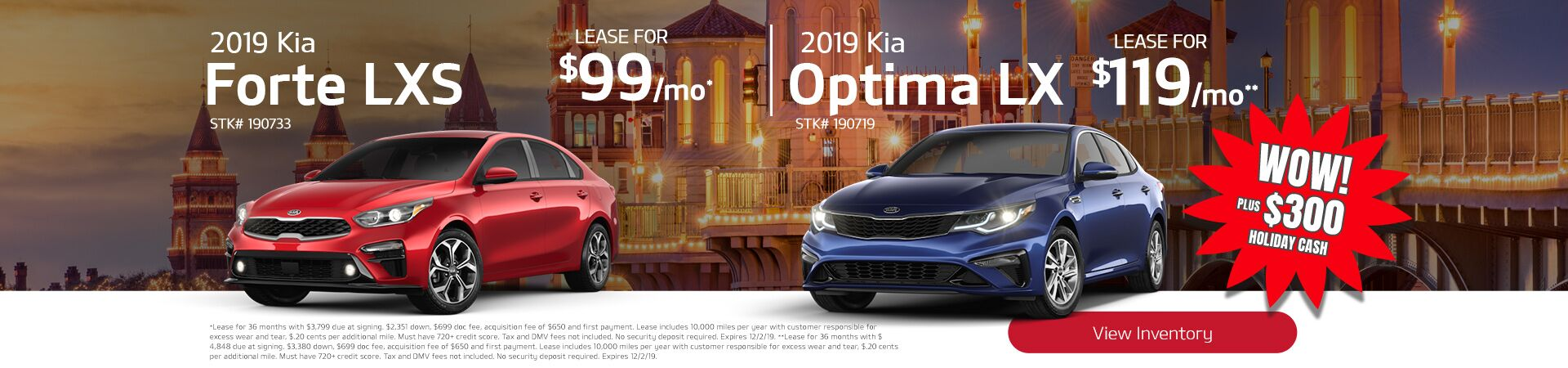 2019 Forte and Optima plus $300 holiday cash