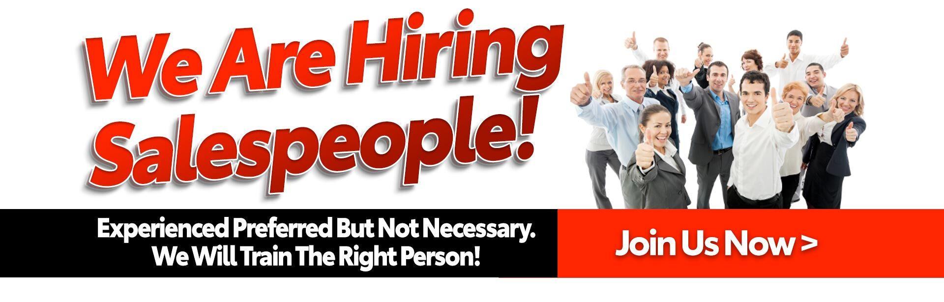 We Are Hiring Salespeople!