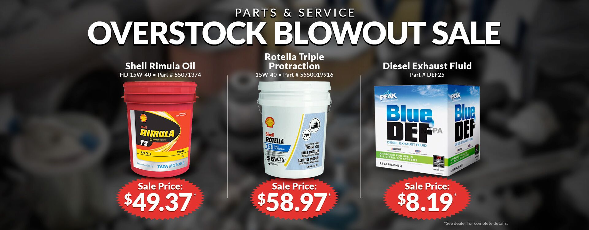 Parts and Service Overstock Blowout Sale