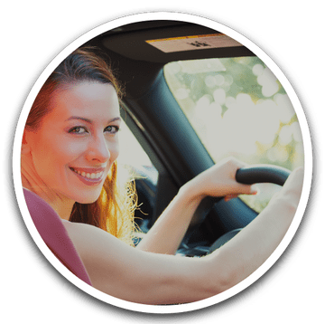 Happy Woman Driving Car