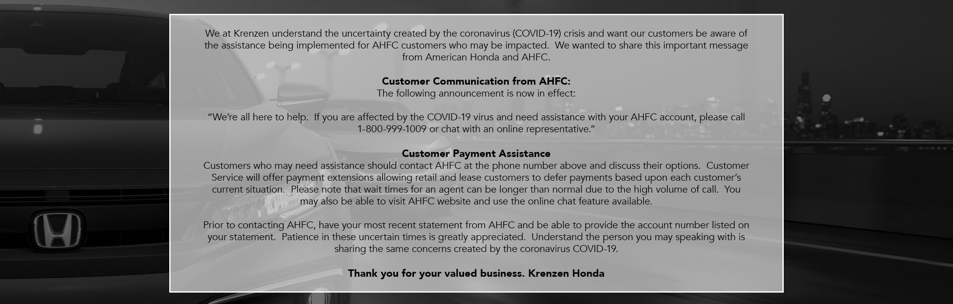 Customer Payment Assistance