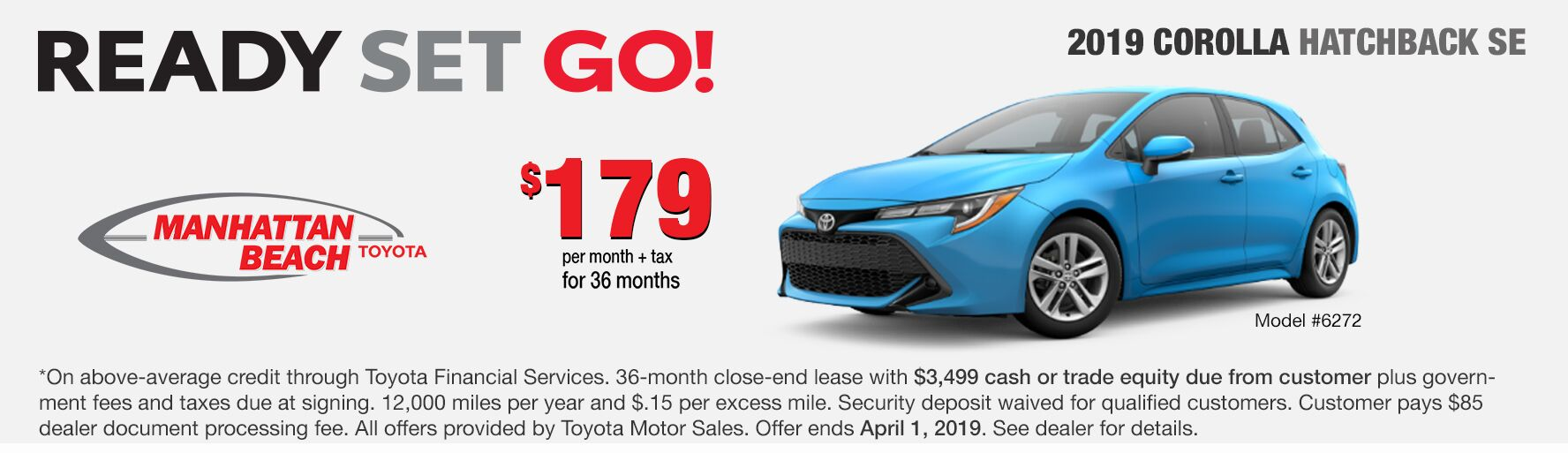 Corolla Hatch SE lease special