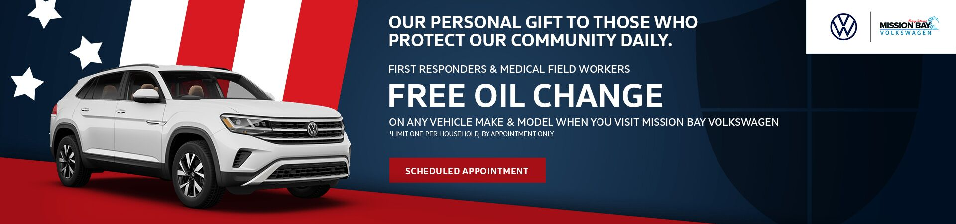 Free Oil Change for First Responders & Medical Field Workers at San Diego Volkswagen dealership