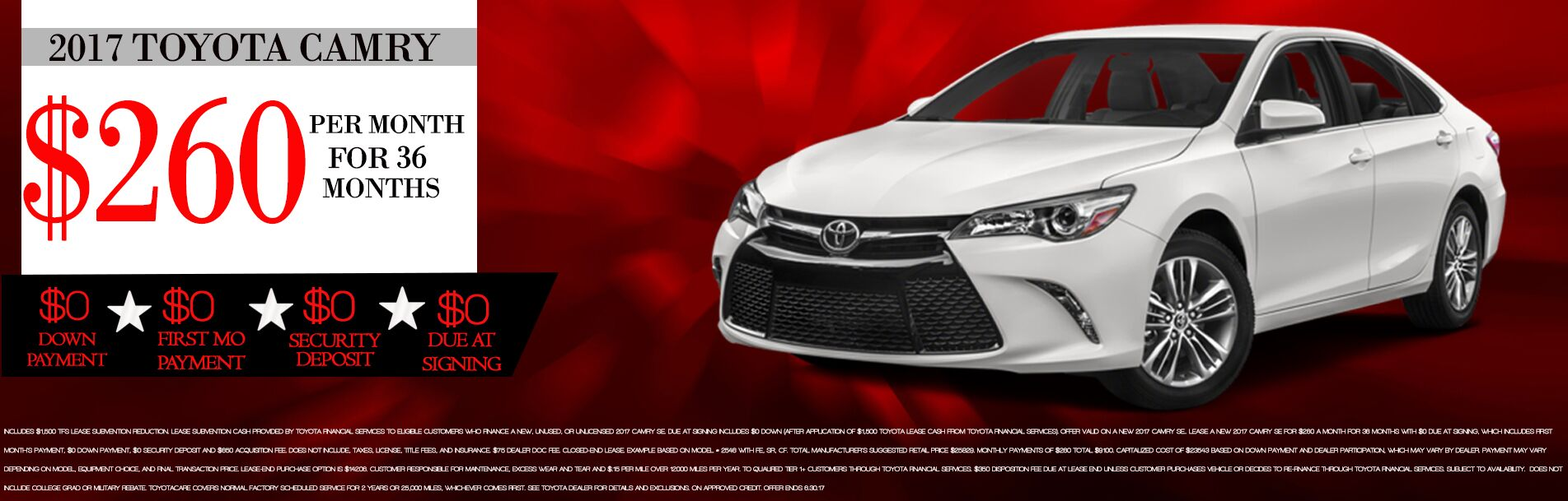 2017 Toyota Camry Lease Specials