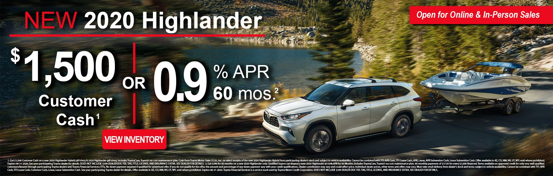 8-5-20 Highlander Cash & Finance Offer