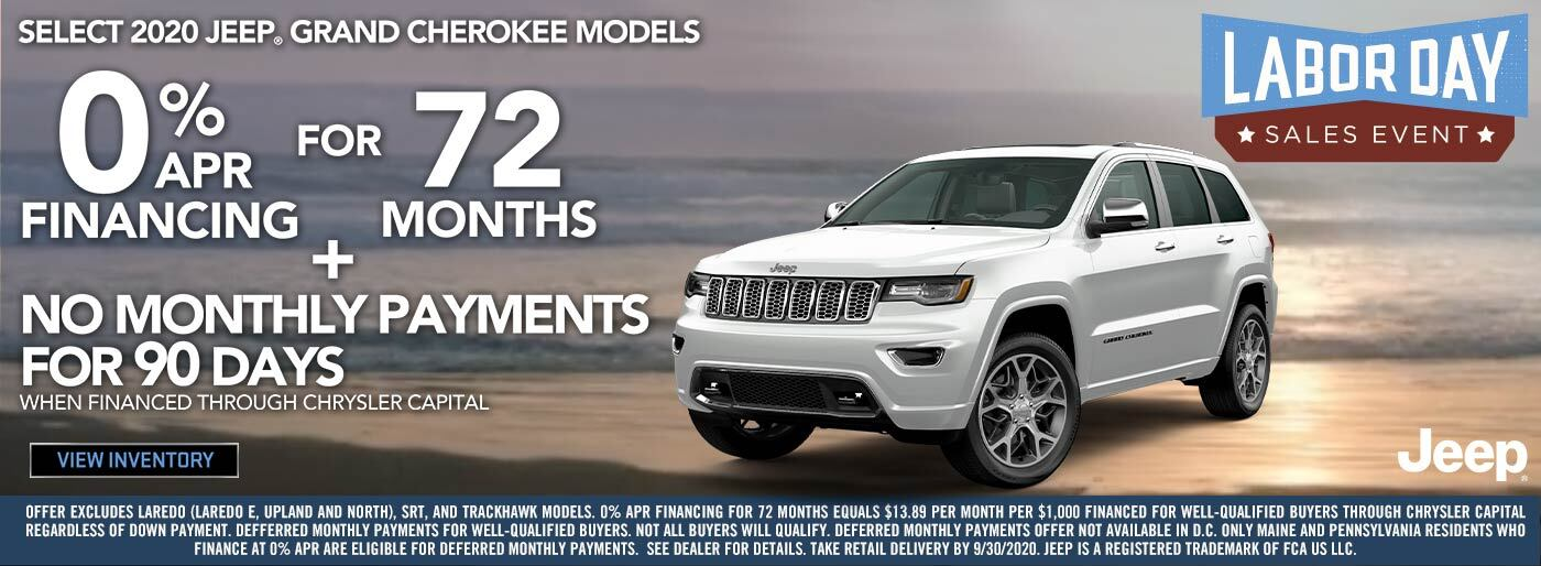 SEBC Jeep Grand Cherokee 0% APR 72 + NMP 90