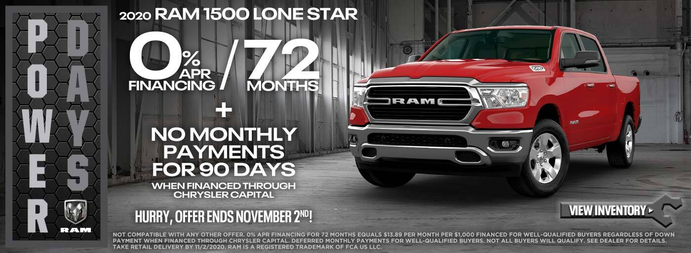 Ram 1500 Lone Star 0% for 72 + NMP 90