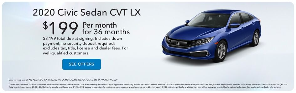 Honda Civic Lease Price Special in Moses Lake, WA