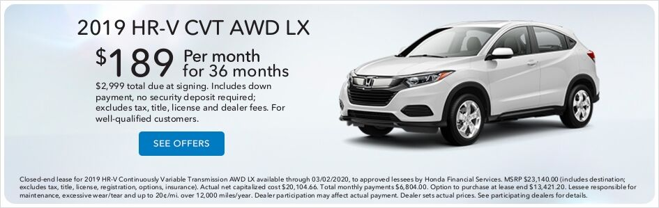 Honda HR-V Lease Special Price in Moses Lake, WA