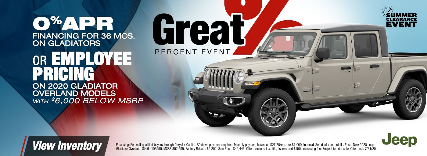 0% APR 2020 Jeep Gladiator