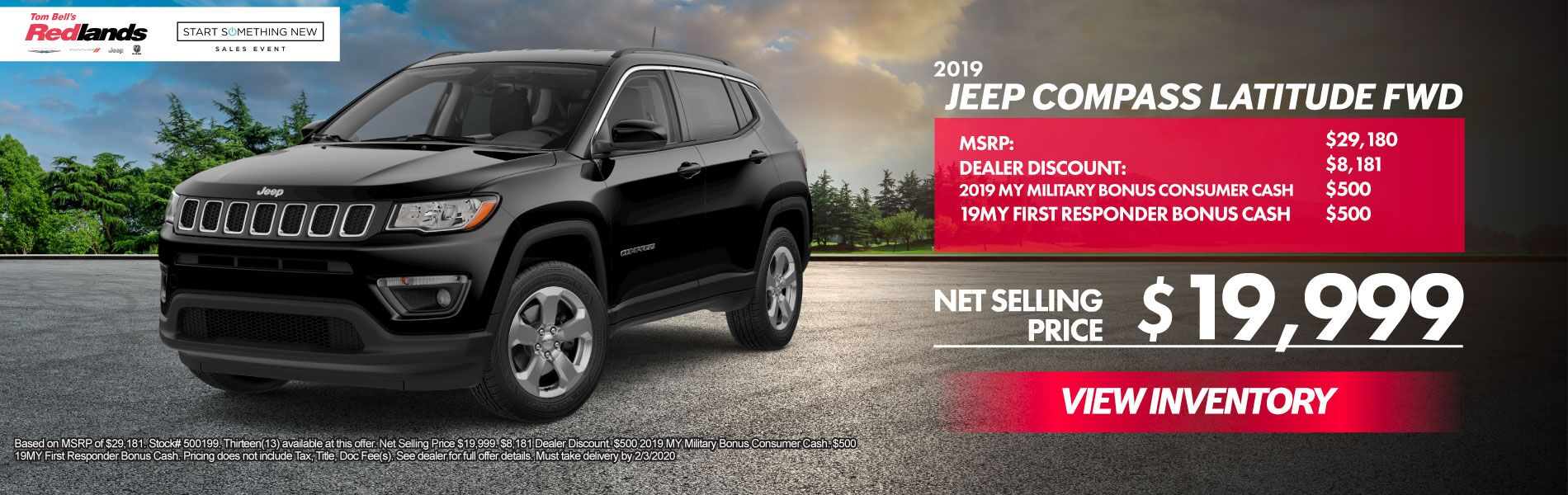 JANUARY SPECIALS - 2019 Jeep Compass Lat FWD