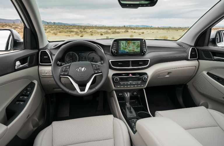 A photo of the driver's cockpit and the dashboard in the 2021 Hyundai Tucson.