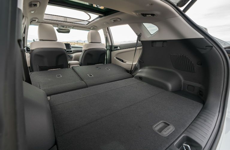 A photo of the cargo area in the back of the 2021 Hyundai Tucson.