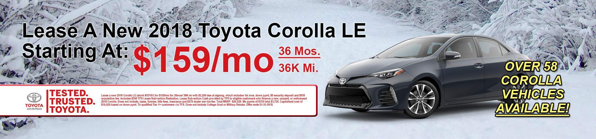 January Corolla Deals
