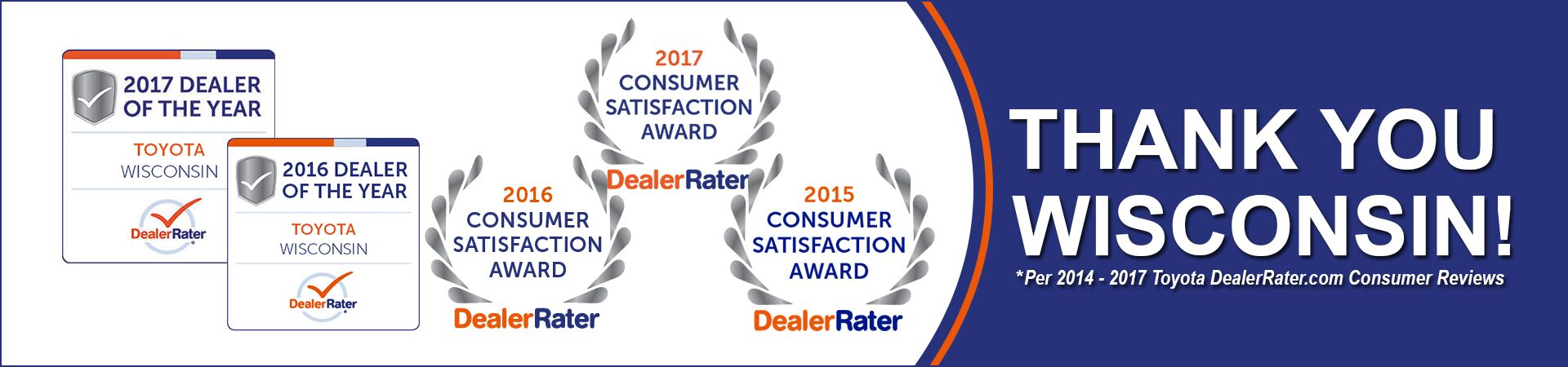 Andrew Toyota Wins the 2017 DealerRater Toyota Dealer of the Year Award AND the 2017 DealerRater Consumer Satisfaction Award.