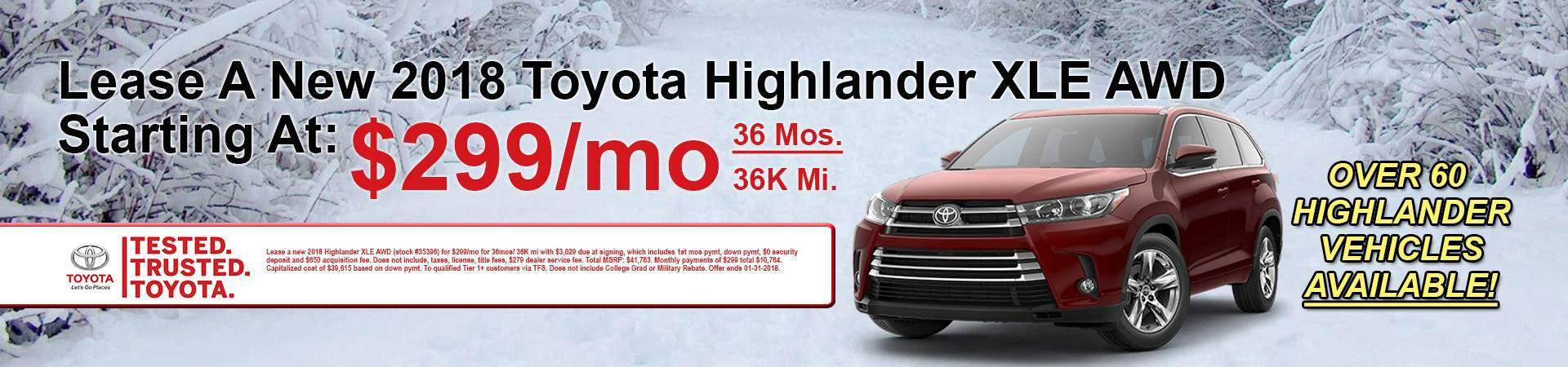January 2018 Highlander Deals