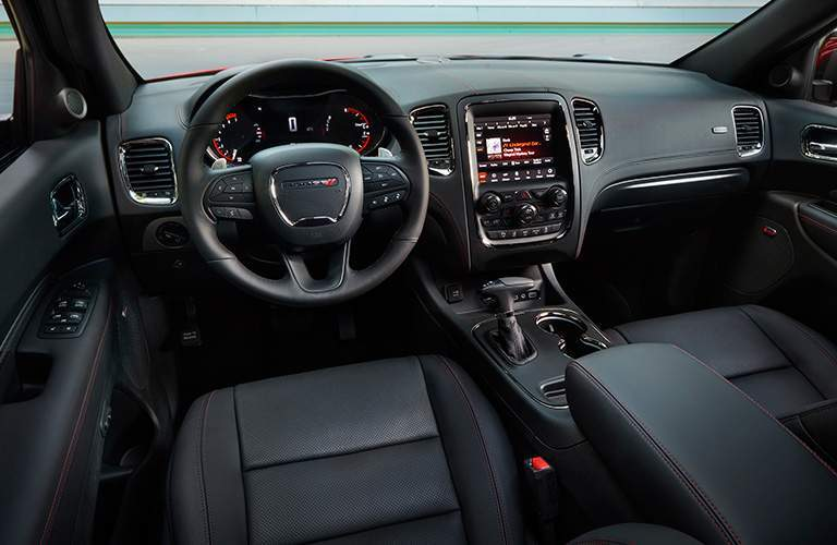 Steering wheel and front seats of the 2018 Dodge Durango