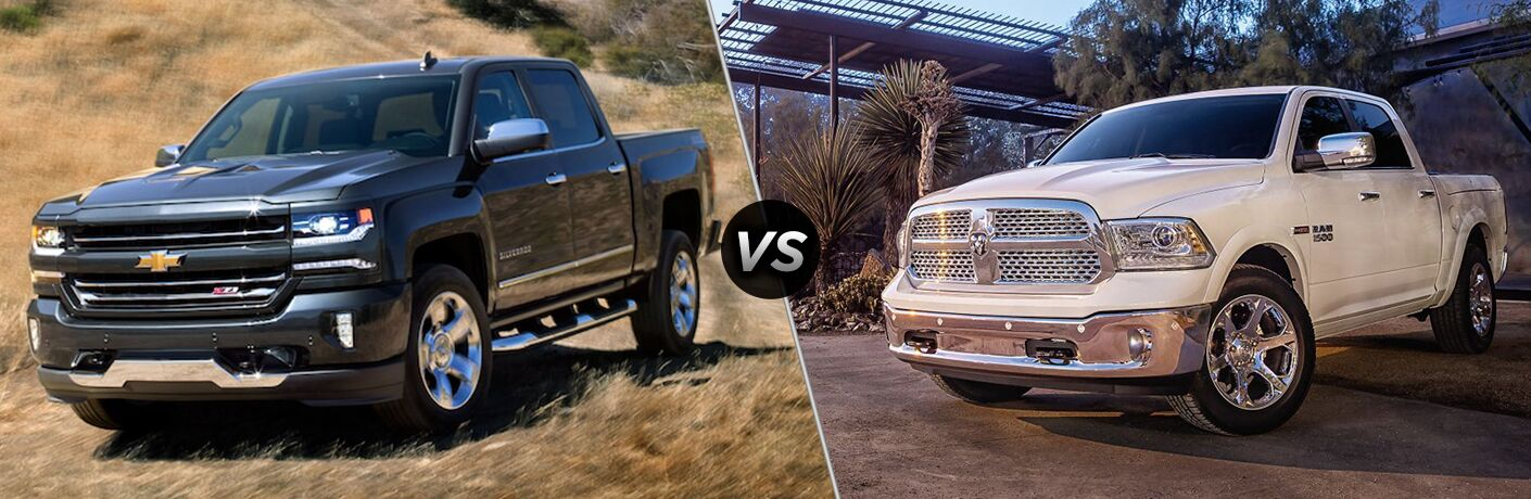 2018 Chevrolet Silverado and 2018 Ram 1500 in a side by side comparison image