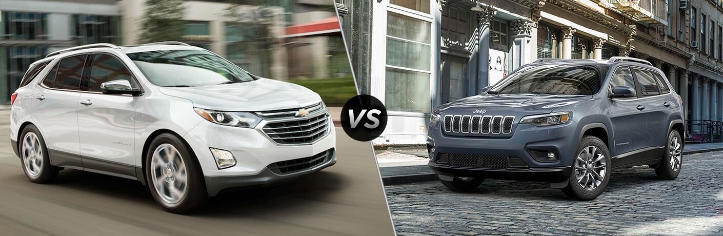 White 2019 Chevy Equinox, VS Icon, and Blue 2019 Jeep Cherokee