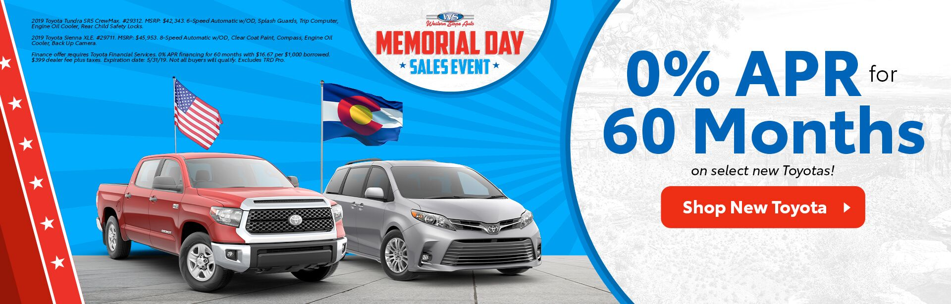 Memorial Day Sales Event at Western Slope Toyota