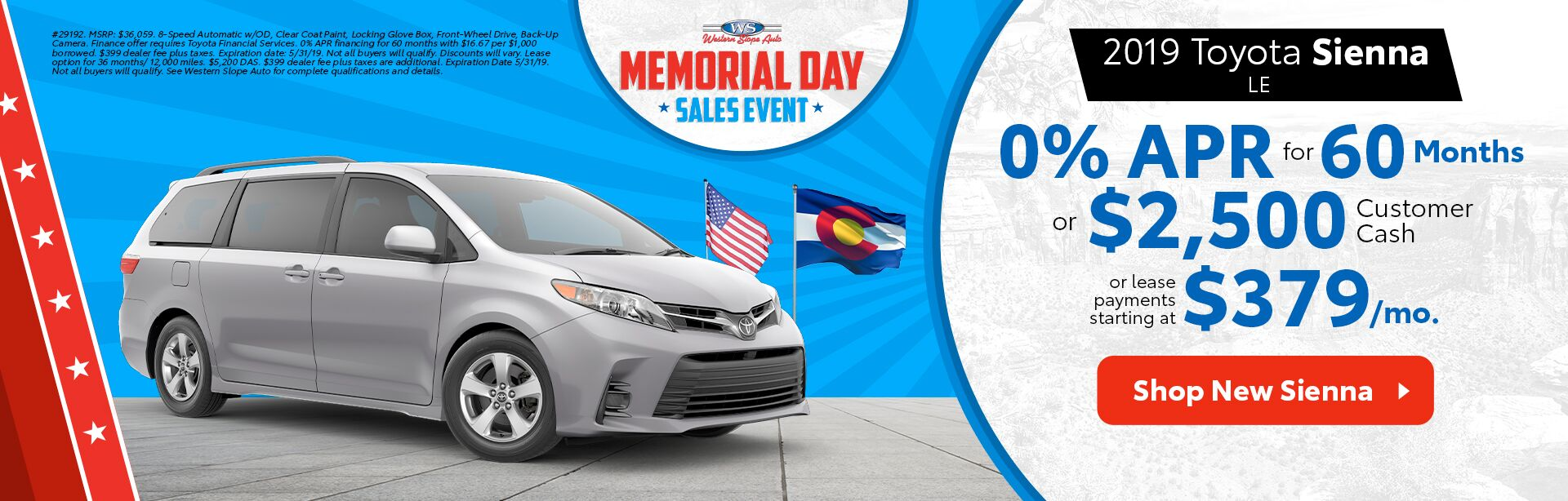 2019 Sienna / Memorial Day Sales Event