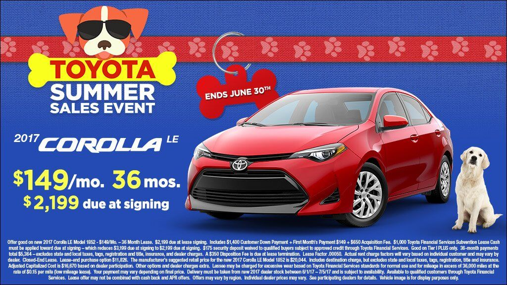 Summer Sales Event Corolla Lease