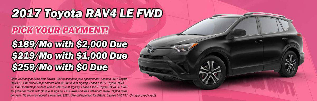 PICK YOUR PAYMENT! Lease a 2017 Toyota RAV4 LE FWD from Allan Nott Toyota today!