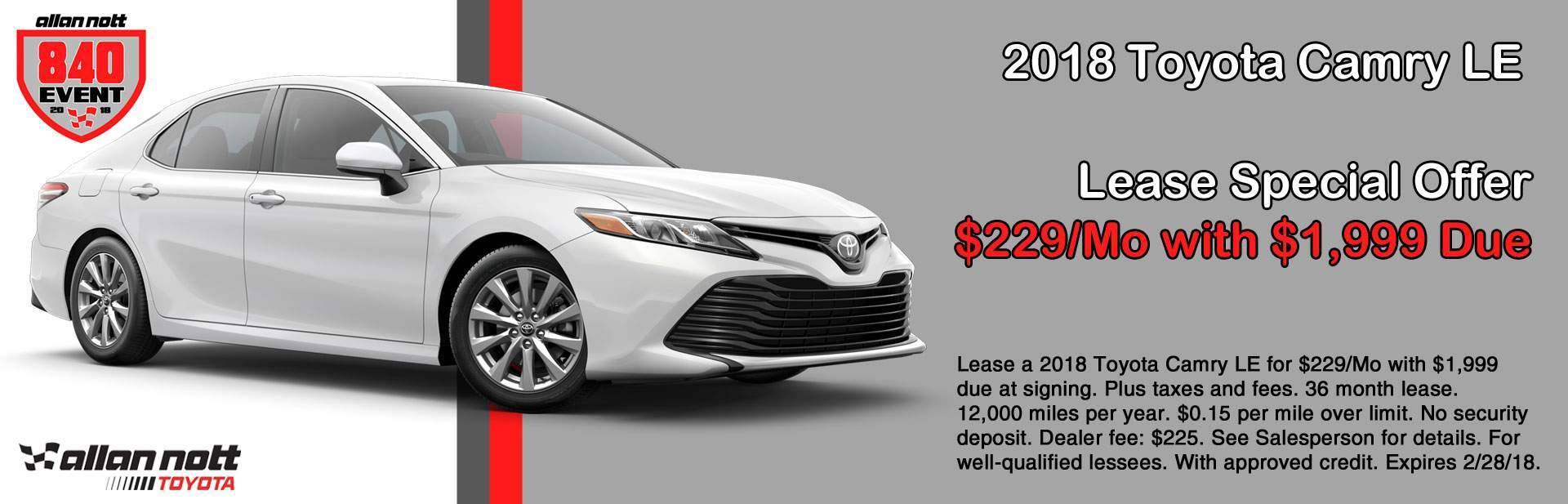 February 2018 Toyota Camry LE Lease Special