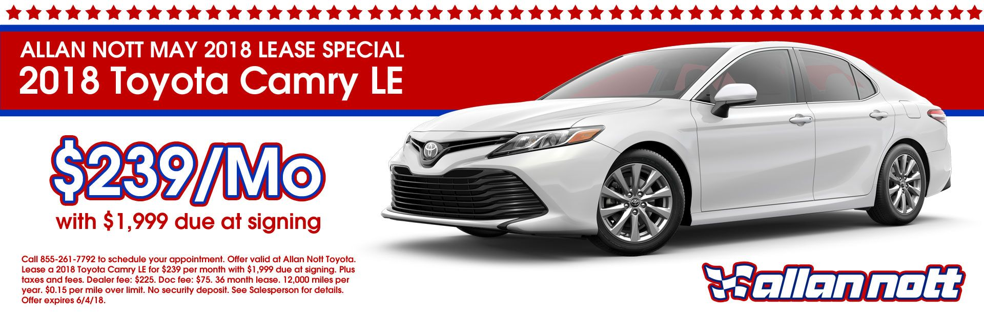 May 2018 Toyota Camry LE Lease Special