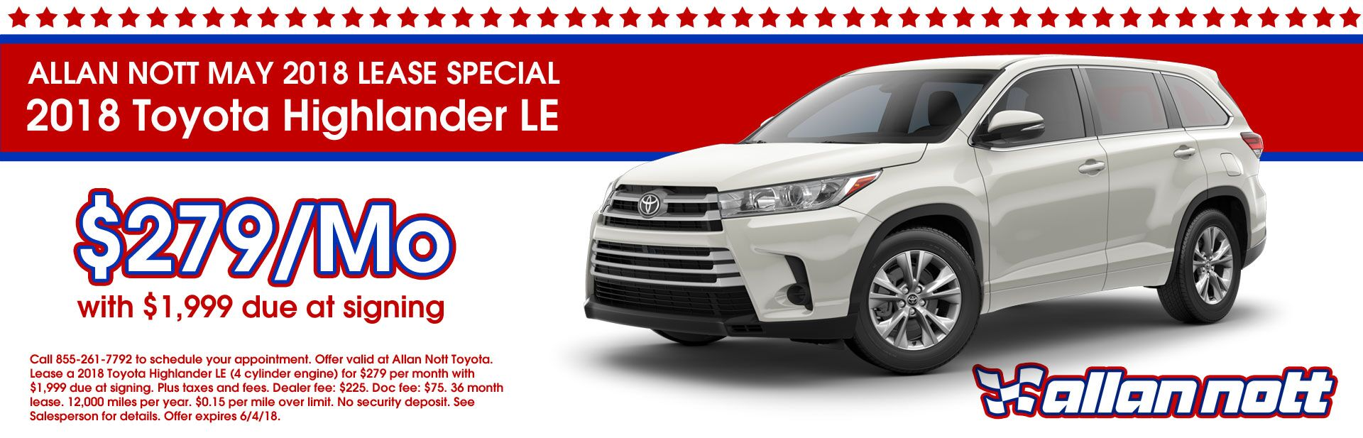 May 2018 Toyota Highlander LE Lease Special