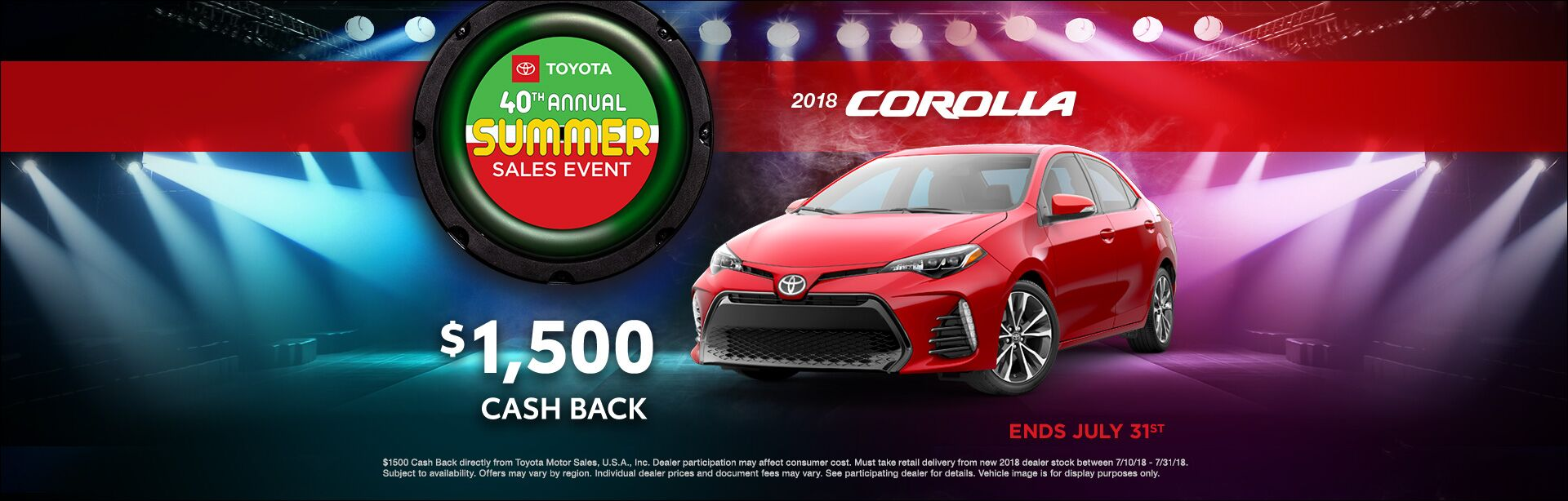 Toyota Summer Sales Event Corolla Cash Back